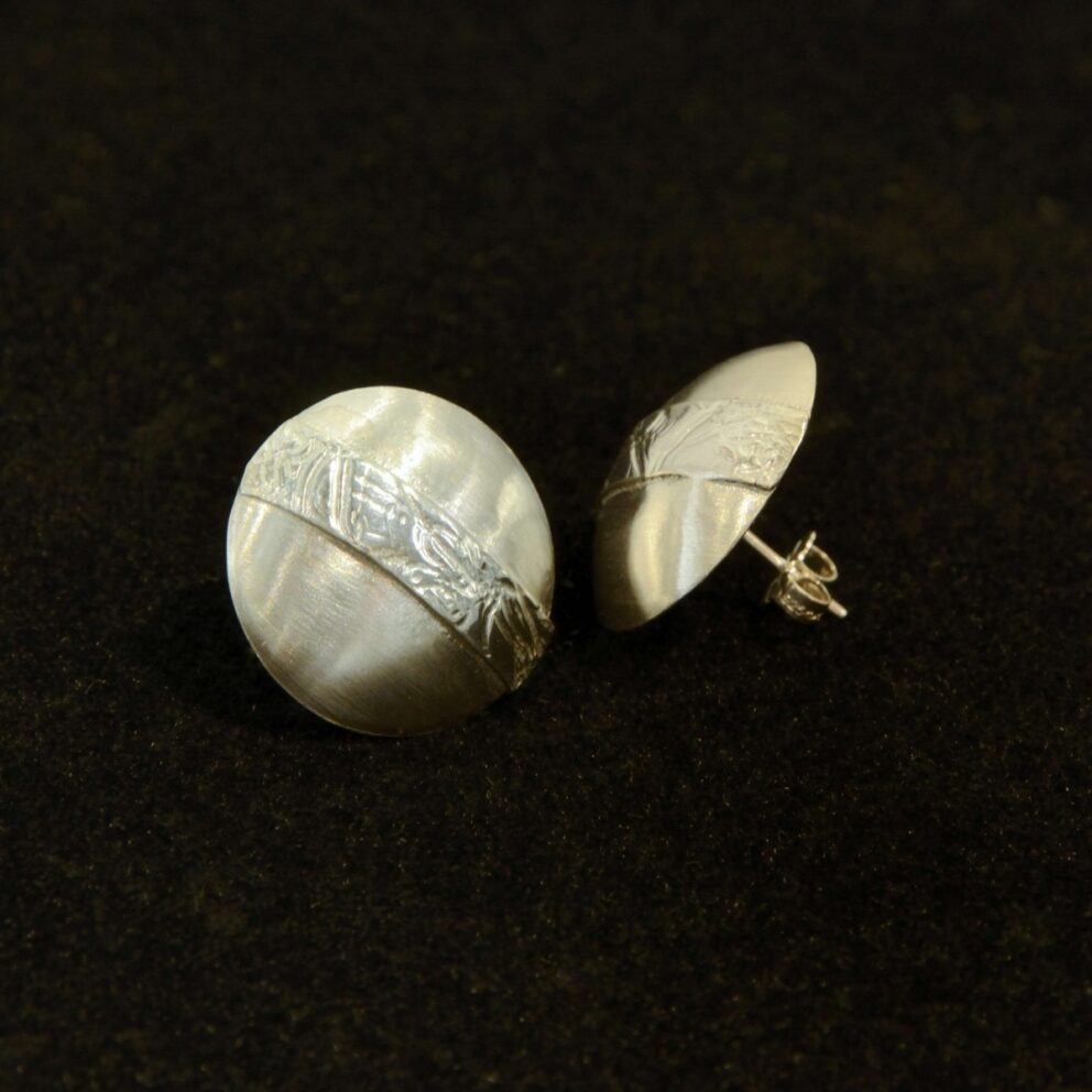 Large Banded Domed Silver Earrings