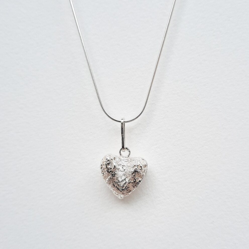 Hand Cast Heart Necklace