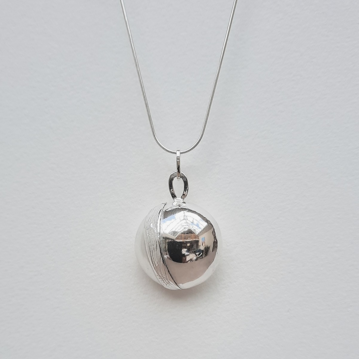 Banded Silver Fob Necklace